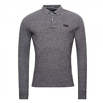 Superdry Long Sleeve Classic Pique Polo Black Grey Grit 3JY