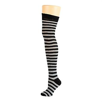 Flirt Striped Over The Knee Socks Black & Grey