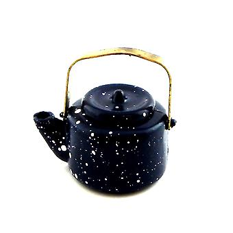 Dolls House Blue Spotted Kettle Miniature 1:12 Scale Metal Kitchen Accessory