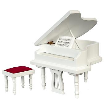 Dolls House White Grand Piano & Bench Stool Miniature Music Room Meubles