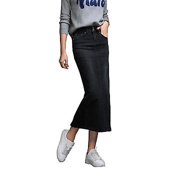 Woman Long Jeans Split High Waist Washed Skirt