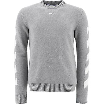 Off-white Omhe023r21kni0014101 Mænd's Grey Cotton Sweater