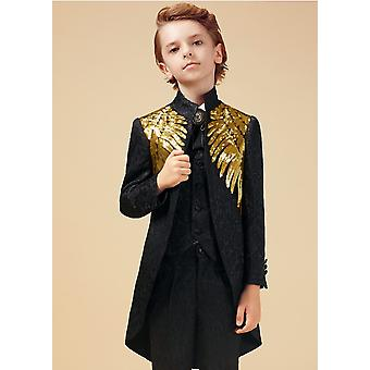 gull paljetter dress for, bryllup kostyme enfant garcon mariage blazer