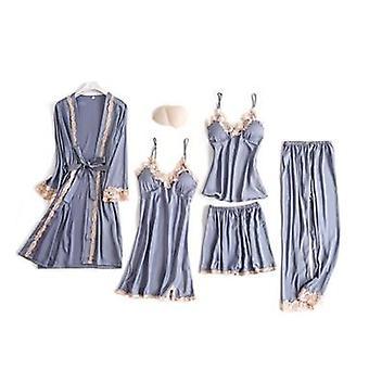 Silk Sleepwear Women Summer Spring Fashion Pajamas Robe Sleep Lounge