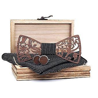 Men Wooden Bow Tie Set, Handkerchief Wood Bow Tie Cufflinks Necktie Silk Ties