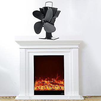 4 Blades Black Stove Fan With Temperature Monitor - Fireplace Wood Burner