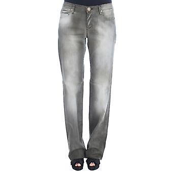 Ermanno Scervino Gray Algodón Blend Loose Fit Novio Jeans