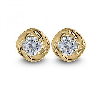 Eternity 9ct oro 7mm pequeño cúbico Zirconia set pendientes de diamantes de flores