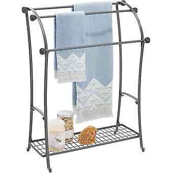 mDesign Free Standing Towel Rack  ; Large Towel Holder with Shelf for Bathroom Accessories
