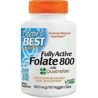 Doctor's Best Folato totalmente activo com Quatrefolic 800 mcg 60 Cápsulas Veggie