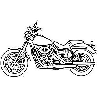 SD Motorcycle Wood Mounted Stamp