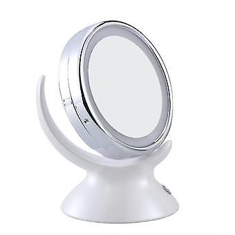 Adjustable 5x magnification lighted led makeup mirror bathroom vanity mirror 360 degree swivel double-sided table mirror (white)