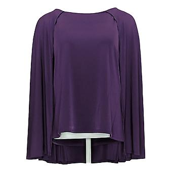 IMAN Global Chic Women's Top Reg Caped Shell Purple 722613