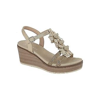 Cipriata Nina Ladies Plate-forme Wedge Sandals Light Gold Reptile