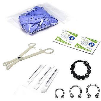 10-Pcs septum piercing kit - horseshoe circular, septum randomly picked, needle, forceps, gloves