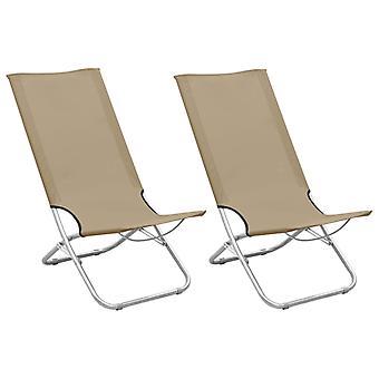 vidaXL Folding beach chairs 2 pcs. Taupe fabric