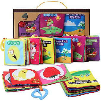 6pcs Durable Cartoon 3d Cloth Book Colorful Interactive Fabric Book For Baby 6-12 Months