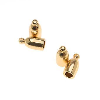 Beadsmith-johdon päät, luoti renkaalla 10mm, sopii 3mm johtoon, 4 kappaletta, kullattu