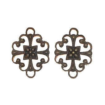Vintaj Natural Brass, Cathedral Connector 16x12mm, 2 Pieces