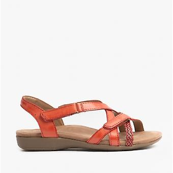Earth Spirit Barb Ladies Leather Strappy Sandals Bright Coral