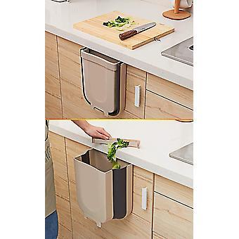 FengChun Mülleimer Küche Faltbare, Neue Generation 9L Abfalleimer Küche Für Schranktür (Braun)