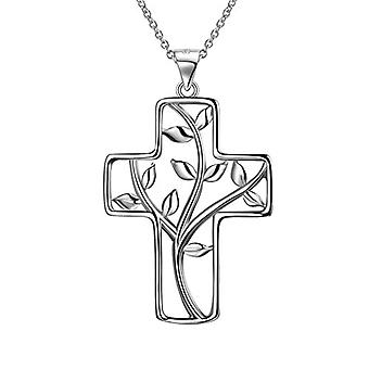 Besilver - Cross-shaped pendant necklace with Irish Celtic knot, sterling 925 silver, unisex and Silver plated, Ref. 8431228533391