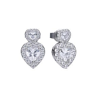 Diamonfire Womens 925 Sterling Silver Rhodium, Palladium & Platinum Plated Clear Cubic Zirconia Heart Shape Dangle Stud Örhängen