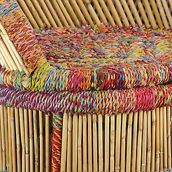 vidaXL fauteuil bamboe met chindi details