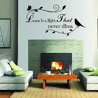Regenboghorn Love Is A Light That Never Dims Saying Wall Decal Sticker