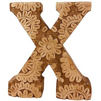 Litera X Ręcznie rzeźbiony drewniany kwiat