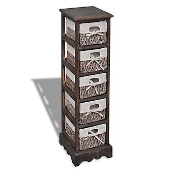 Armario de almacenamiento con 5 cestas de madera marrón