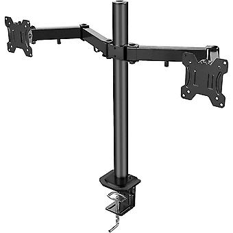 """HanFei 13""""-27"""" Dual Monitor Mount, Fully Adjustable for Two LCD LED Screens, 2 Mounting Options,"""