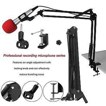 Mikrofonin jousituspuomin saksivarren jalustateline studiolähetykseen