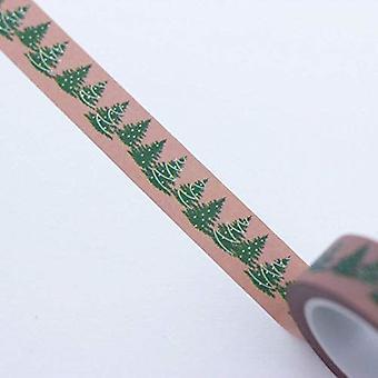 Christmas Washi Tape Brown with Green Christmas Trees 10m