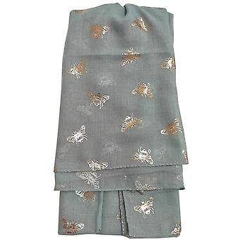 Mint Metallic Bees Scarf by Butterfly Fashion London