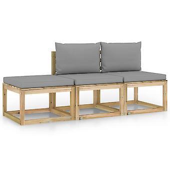 vidaXL 3-tlg. Garten-Lounge-Set mit Grauen Kissen