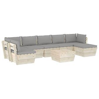 vidaXL 8-tlg. Jardin canapé-lit en palettes avec oreillers épicéa