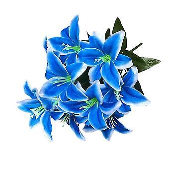2pcs kunstige Lily 10 hoveder Fake Lily kunstig blomst bryllupsfest decor (blå)