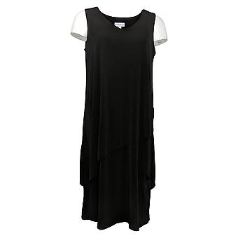Susan Graver vestido de punto líquido sin mangas negro en niveles A377870