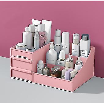 Kosmetiikka säilytyslaatikko laatikko tyyppi muovinen säilytysteline (vaaleanpunainen)