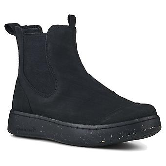Woden Black Magda Waterproof Rubber Pull On Chelsea Style Ankle Boot