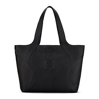 Hogan shoppingväska i svart läder