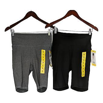 Danskin Women's Shorts Set Of 2 Biker Pull-On Black