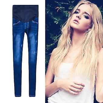 Pregnant Women Stretchy Cotton Jeans Denim Pencil Pants Maternity Trousers