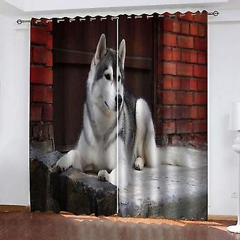 モダンデザインの2枚セットブラックアウト断熱材寝室カーテンリビングルーム壁パターン140x240 cm