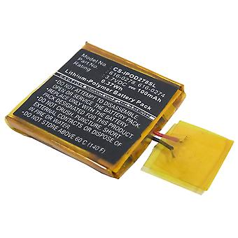 Battery for Apple iPOD Shuffle G2 1GB G3 616-0274 616-0278 MP3 Player 100mAh