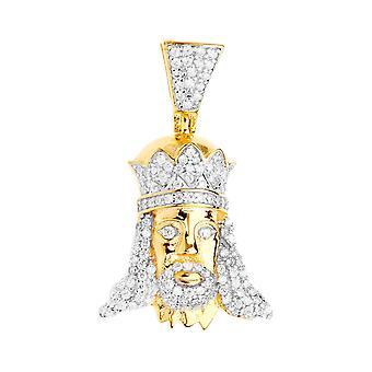 Premium Bling - 925 sterling silver KING mini pendant-gold
