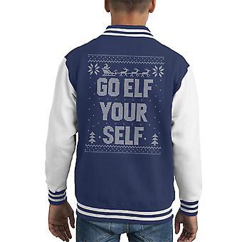 Go Elf Yourself Christmas Knit Pattern Kid's Varsity Jacket