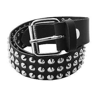 Bullet 69 Black 3 Row Conical Studded Leather Belt (38mm)