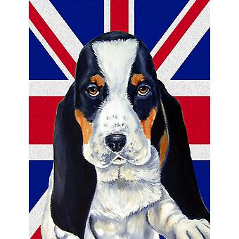 Basset Hound with English Union Jack British Flag Flag Canvas House Size